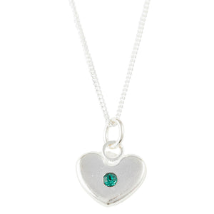 May Birthstone Crystal Heart Necklace