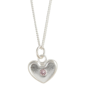 June Birthstone Crystal Heart Necklace