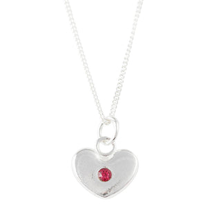 July Birthstone Crystal Heart Necklace