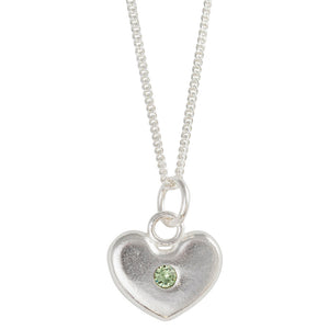 August Birthstone Crystal Heart Necklace