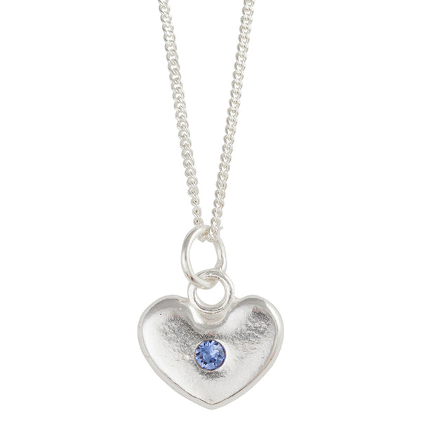 September Birthstone Crystal Heart Necklace