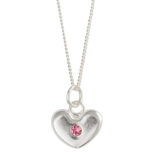 October Birthstone Crystal Heart Necklace