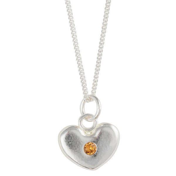 November Birthstone Crystal Heart Necklace