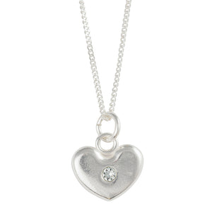 December Birthstone Crystal Heart Necklace