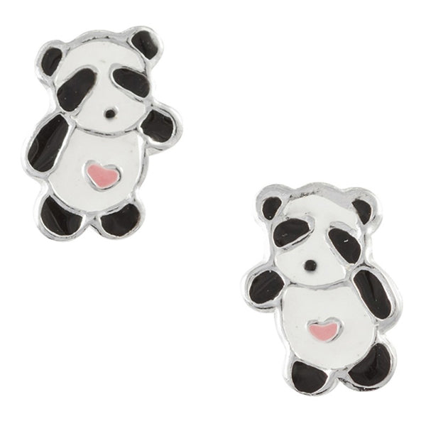 Enamel Panda Post Earring