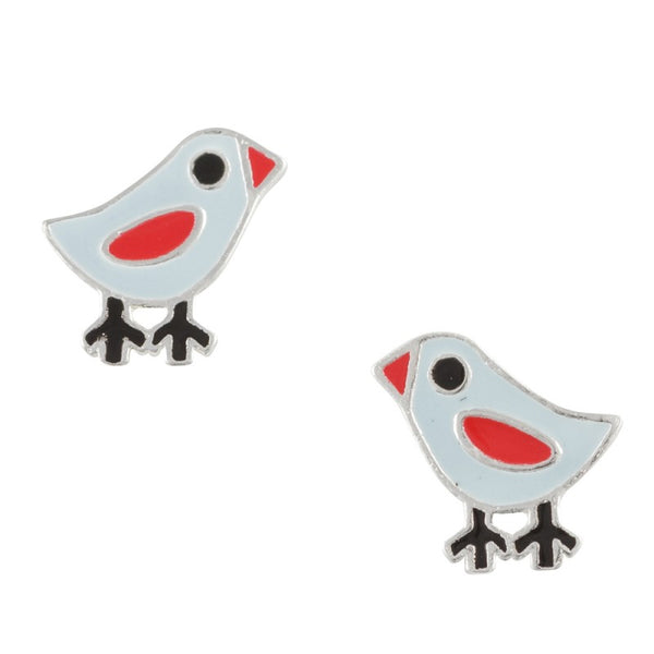 Enamel Bluebird Post Earring