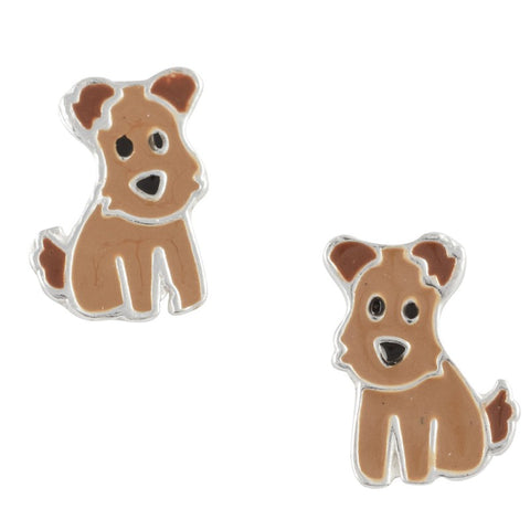 Brown Enamel Dog Post Earring