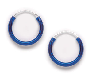 Shiny Blue Hoop Earring