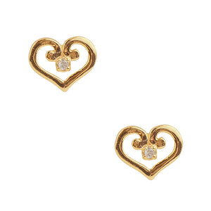 Gold Plated Swirl Heart Post Earring