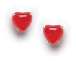 Prong Set Red Heart Post Earring