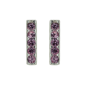 Pink Crystal Bar Post Earring