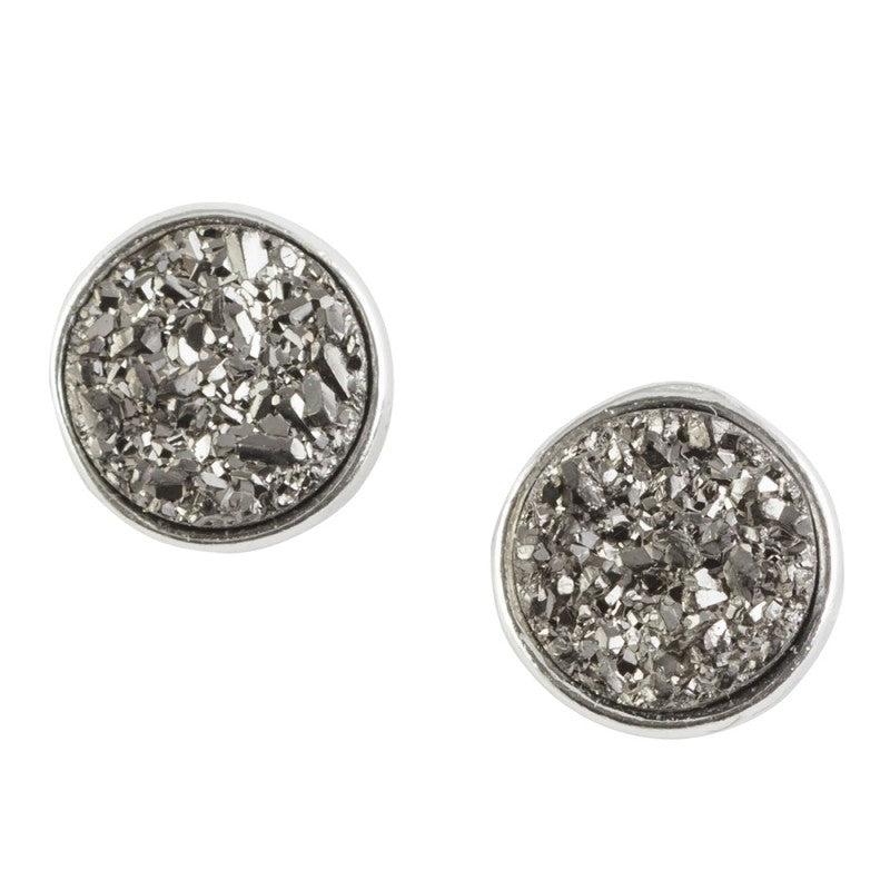 Faux Druzy Post Earrings - Silver