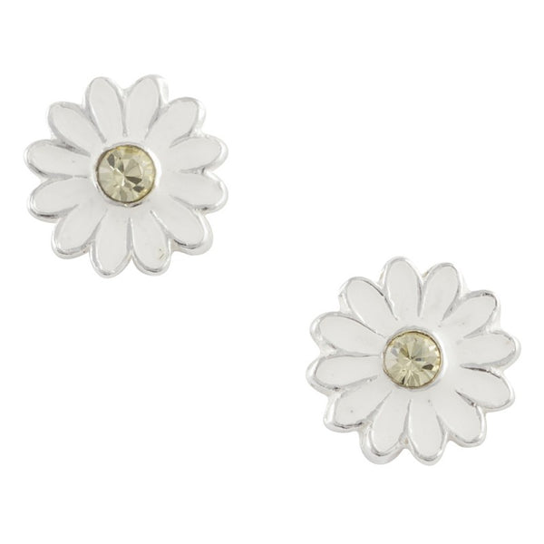 Enamel Daisy Flower Post Earring With Yellow Crystal