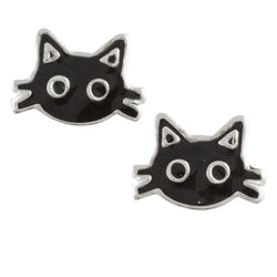 Black Enamel Kitty Cat Face Post Earring