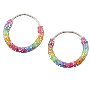 Sterling Silver 10mm Glitter And Rainbow Stripe Enamel Hoop Earring - Emily