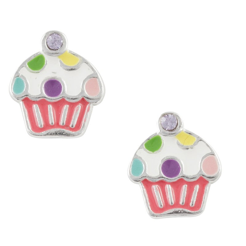 Multi Color Enamel Polka Dot Cupcake Post Earring