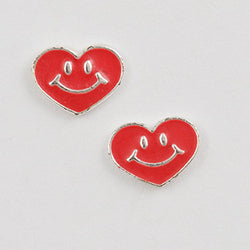 Smiley Face Heart Post Earring