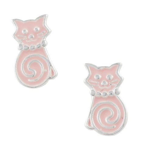 Pink Enamel Cat With Swirl Tail Post Earring