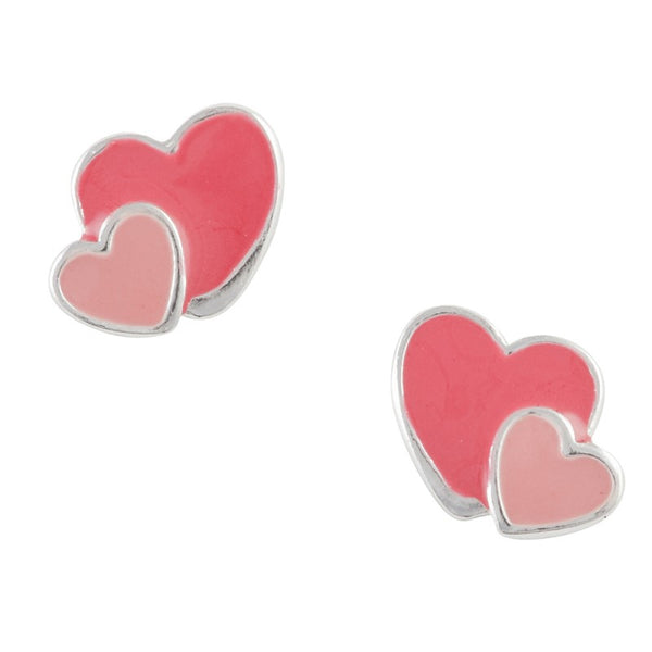 Pink Enamel Double Heart Post Earring