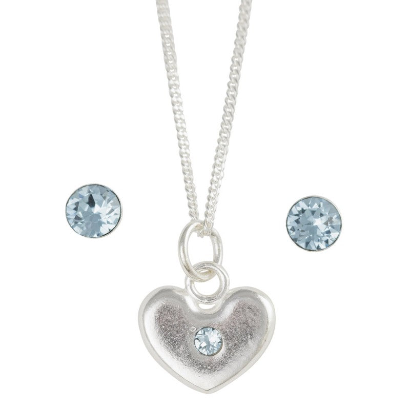 March Crystal Birthstone Earring And Heart Necklace Set