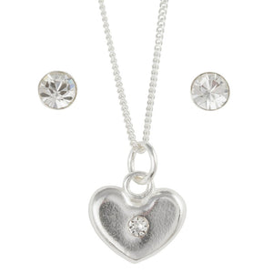 April Crystal Birthstone Post Earring And Heart Necklace Set