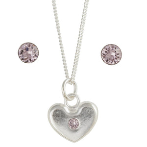June Crystal Birthstone Earring And Heart Necklace Set