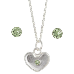 Sterling Silver August Crystal Birthstone Post Earring And Heart Necklace Set - Emily