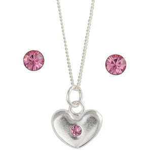 October Crystal Birthstone Earring And Necklace Set