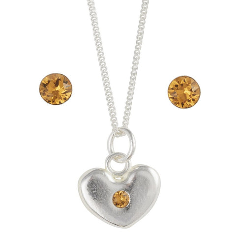 Sterling Silver November Crystal Birthstone Post Earring And Heart Necklace Set - Emily