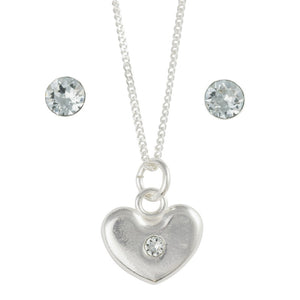 Sterling Silver December Crystal Birthstone Post Earring And Heart Necklace Set - Emily