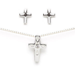 Cross Earring and Necklace Set