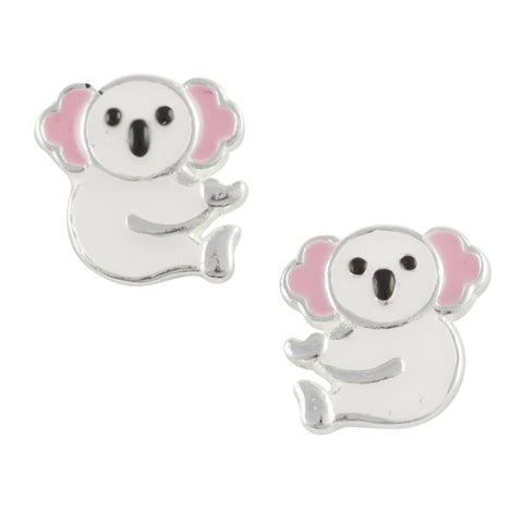 Sterling Silver White Enamel Koala Post Earring - Emily