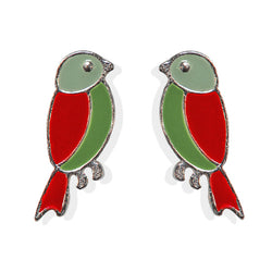 Red Winged Birdie Post Earrings