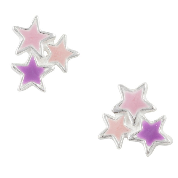 Sterling Silver Pink And Purple Enamel Star Cluster Post Earring
