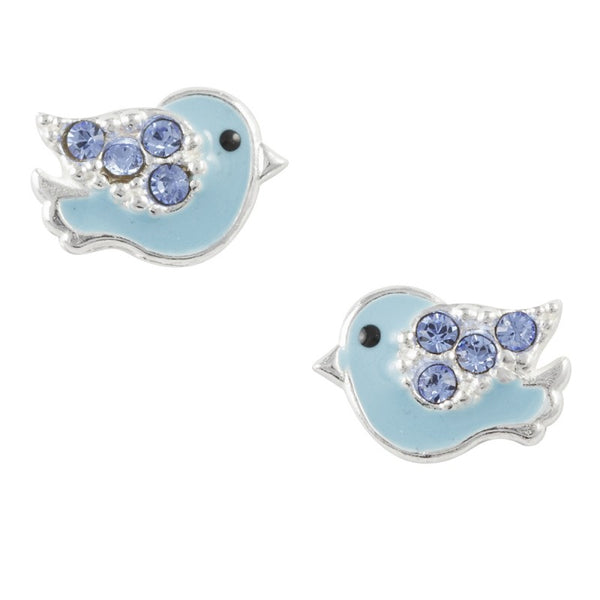Sterling Silver Blue Enamel Jolly Bird Post Earring With Blue Crystal - Emily