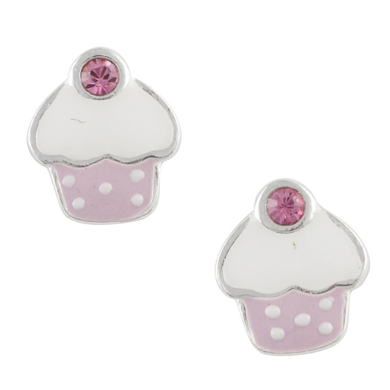 Sterling Silver White And Purple Enamel Cupcake Post Earring With Pink Crystal - Emily