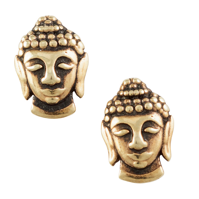 Gold Plated Buddha Head Post Earring