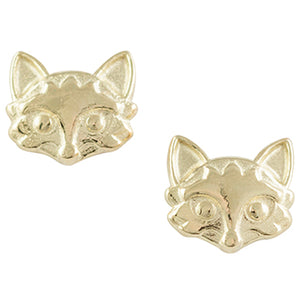 Gold Plated Fox Head Post Earring