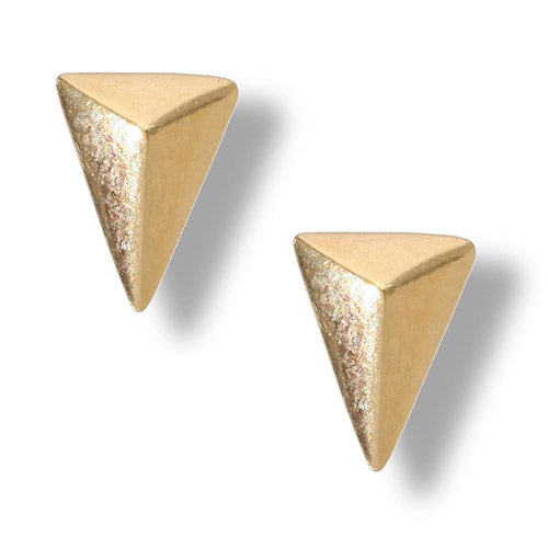 Gold Plated Pyramid Post Earring