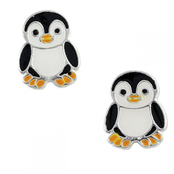 Sterling Silver Enamel Penguin Post Earring - Emily