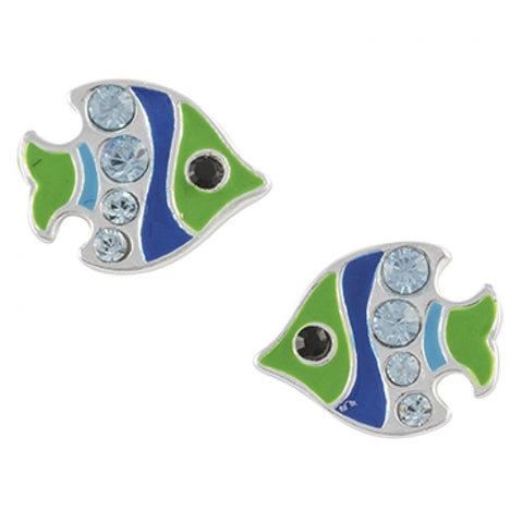 Sterling Silver Green And Blue Enamel Angelfish Post Earring With Light Blue Crystal - Emily