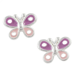 Purple And Pink Spotted Butterfly Post Earring