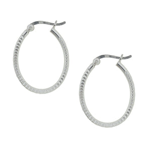 Notched Oval Hoop Earring - 25mm