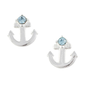 Crystal Anchor Post Earring - Blue