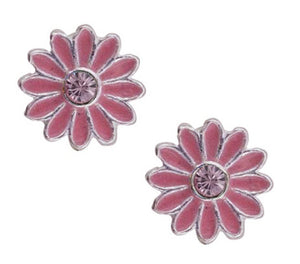 Pink Enamel Daisy Flower Post Earring With Pink Crystal