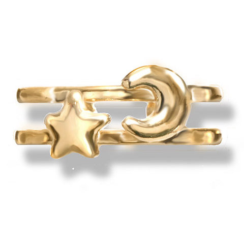 Gold Star and Moon Toe Ring