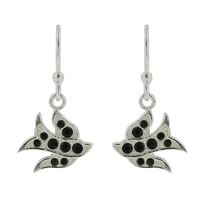 Peace Dove Earring - Black Crystal