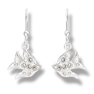 Peace Dove Earring - Clear Crystal