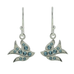 Peace Dove Earrings - Blue Crystal
