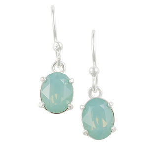 Oval Crystal Earring - Pacific Opal